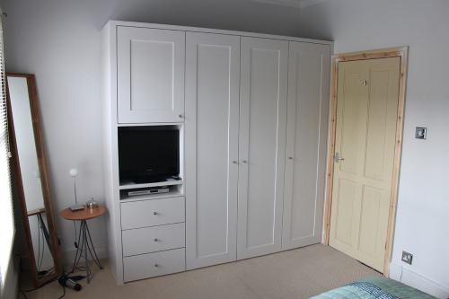 shaker wardrobe with TV space