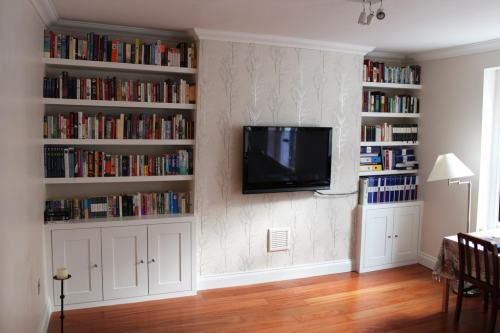 Pair of alcove cabinets with floating shelves