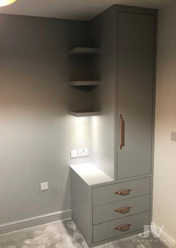 small fitted wardrobe with drawers