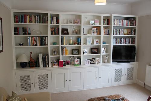 Traditional bookshelves with cupboards