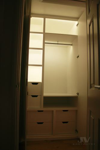 Fitted wardrobe with LED light