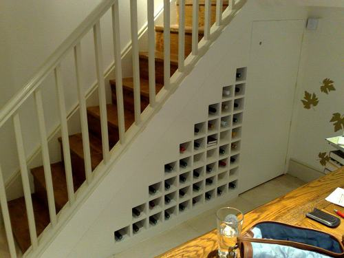 wine rack fitted under staircase